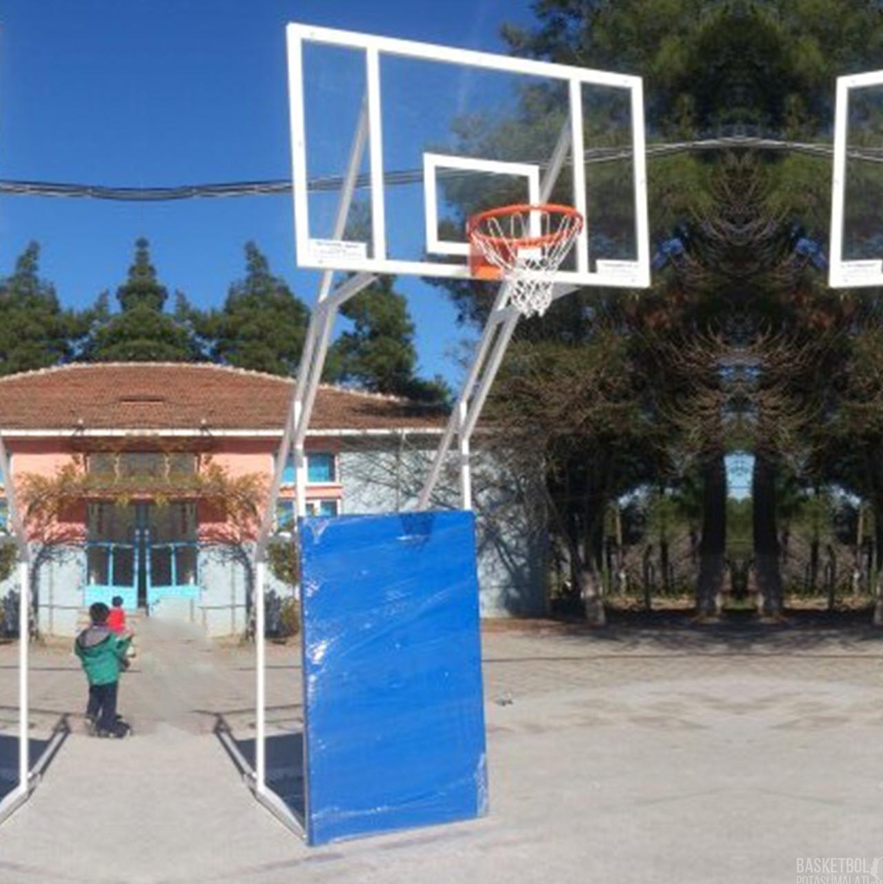 [MS609] Dört Ayaklı Sabit 10mm Akrilik Cam Panyalı Basketbol Potası