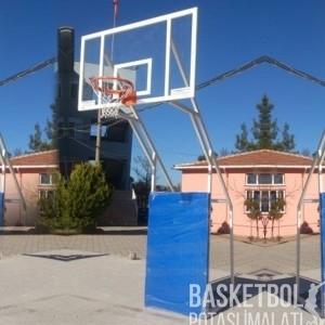 [MS610] Dört Ayaklı Sabit 12mm Akrilik Cam Panyalı Basketbol Potası